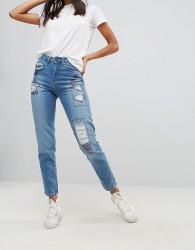 Waven Elsa Patched Mom Jeans - Blue