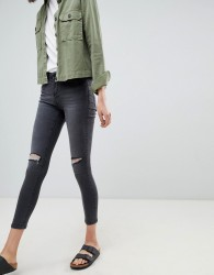 Waven Freya Mid Rise Skinny Jeans With Knee Rips - Black