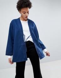 Waven Imma Unisex Belted Kimono Jacket - Blue