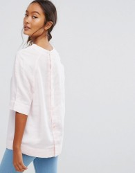 Waven Inca Button Back Denim Top - Pink
