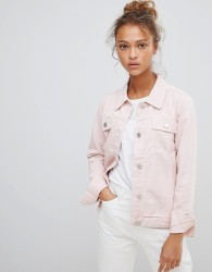 Waven Lana Pink Denim Jacket with Wolf Embroidery - Pink