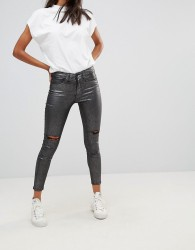 Waven Metallic Silver Skinny Ankle Grazer Jeans - Silver