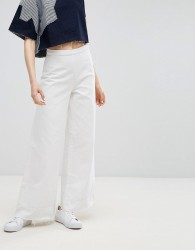 Waven Nella Wide Flared Jeans with Raw Hem - White