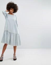 Waven Stripe Dress with Frill Hem - Blue