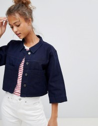 Waven Tak Cropped Denim Shirt - Navy