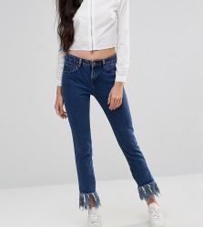Waven Tall Extreme Frayed Hem Straight Leg Jean - Blue
