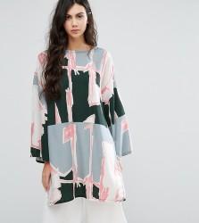 Waven Tall Graphic Print Oversized Tunic Dress - Multi