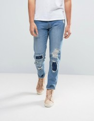 Waven Tapered Fit Jeans in Quarry Blue with Patchwork - Blue
