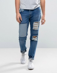 Waven Tapered Fit Jeans in Rip and Repair - Blue