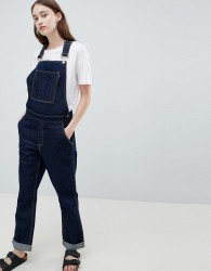 Waven Thea Rinse Indigo Denim Dungaree's with Wolf Embroidery - Blue