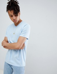 Weekday alan v neck t-shirt light blue - Blue