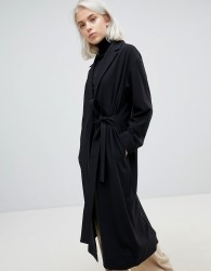 Weekday belted trench coat in black - Black