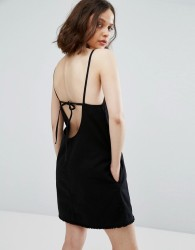 Weekday Cami Dress with Back Strap Detail - Black