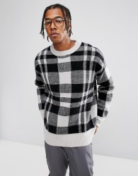 Weekday Checked Ken Knitted Jumper - Green