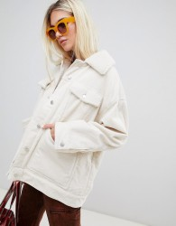 Weekday cord teddy jacket in off white - White