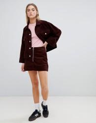 Weekday cord zip front mini skirt - Brown