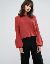Weekday Crop Knit Jumper with Balloon Sleeve - Red