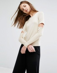 Weekday Cut out Sleeve Top - Cream