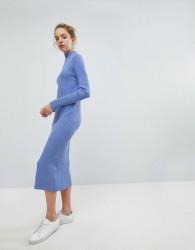 Weekday Directional Rib Knit Midi Dress - Blue