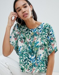 Weekday Floral Print Woven T-shirt - Beige