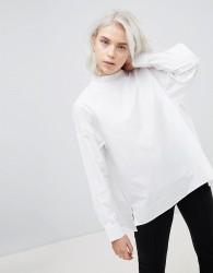 Weekday High Neck Pleat Back Shirt - White