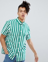 Weekday louis short sleeve striped shirt - Green