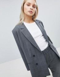 Weekday Oversized Double Breasted Check Suit Blazer - Black