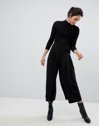 Weekday Pleat Front Wide Leg Trouser - Black