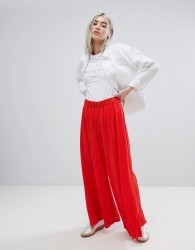 Weekday Pleat Wide Leg Trousers - Red