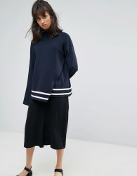 Weekday Wrap Over Detail Knit Jumper with Contrast stripe - Navy