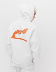 Weekday X Non Violence Big Hawk hoodie in white with print - White