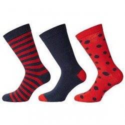 WESC 3-pak Stanie Multi Pattern Socks - Navy/Red - Str 42/45 * Kampagne *