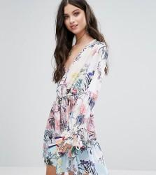 White Cove Petite All Over Multi Floral Print Smock Dress - Multi