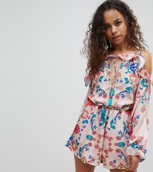 White Cove Petite All Over Printed Cold Shoulder Playsuit - Multi