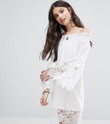 White Cove Petite Allover Lace Crochet Off Shoulder Dress - White