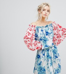 White Cove Petite Allover Mix Match Floral Offshoulder Mini Dress With Fluted Sleeve Detail - Multi