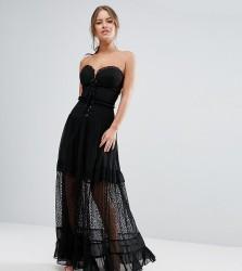 White Cove Petite Bandeau Maxi Dress With Corset Detail - Black