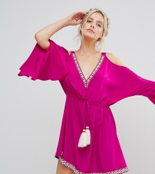 White Cove Petite Embellished Cold Shoulder Dress With Peplum Hem Detail - Pink