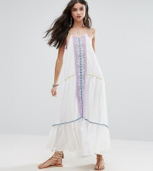 White Cove Petite Embroidered Mirror Detail Maxi Dress With Tassel Ties - Multi