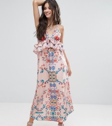 White Cove Petite Frill Layered Maxi Dress In Bright Floral Print - Multi