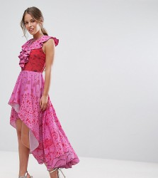 White Cove Petite High Low Lace Up Maxi Dress With Tassel Detail - Pink