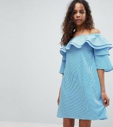 White Cove Petite Off Shoulder Boned Mini Dress With Volumnious Ruffle Sleeve Detail - Multi