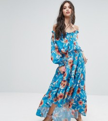 White Cove Petite Off Shoulder Floral Printed Maxi Dress With Tiered Hem - Multi