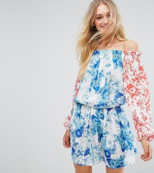 White Cove Tall Allover Mix Match Floral Off Shoulder Mini Dress With Fluted Sleeve Detail - Multi