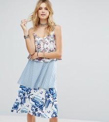 White Cove Tall Allover Printed Layered Cami Strap Swing Dress - Multi