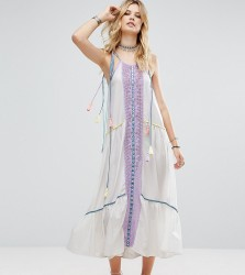 White Cove Tall Embroidered Mirror Detail Maxi Dress With Tassel Ties - Multi