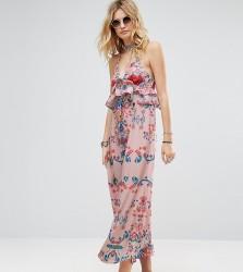 White Cove Tall Frill Layered Maxi Dress In Bright Floral Print - Multi