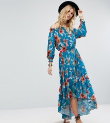 White Cove Tall Off Shoulder Floral Printed Maxi Dress With Tiered Hem - Multi