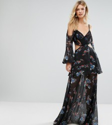 White Cove Tall Premium Cold Shoulder Maxi Dress In All Over Dark Floral Print - Multi