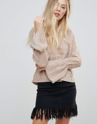Wild Flower Chenille Jumper With Fluted Sleeves - Beige